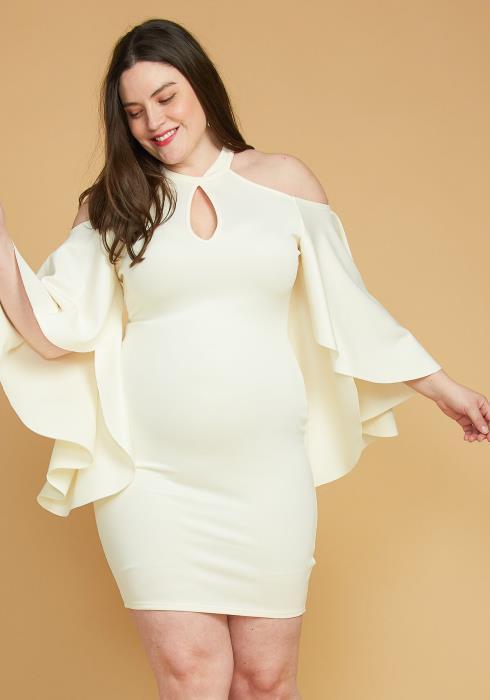 Plus Size Shoulder Cutout Batwing Sleeve Dress