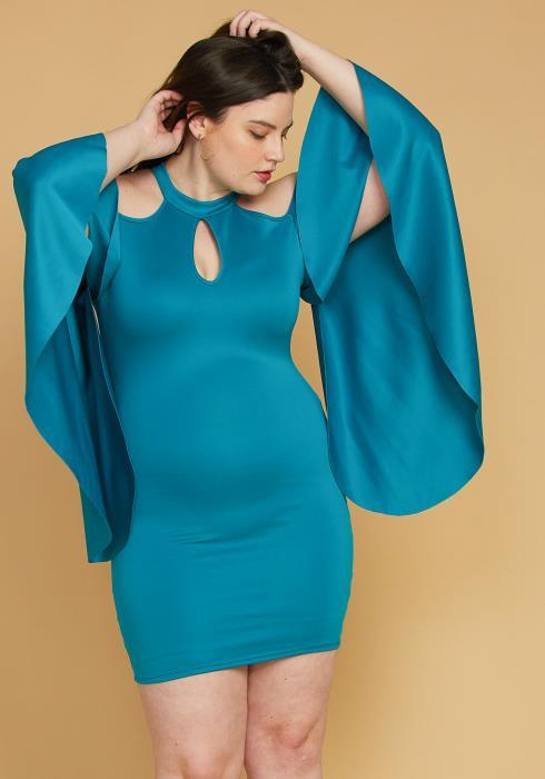 Asoph Plus Size Shoulder Cutout Batwing Sleeve Dress