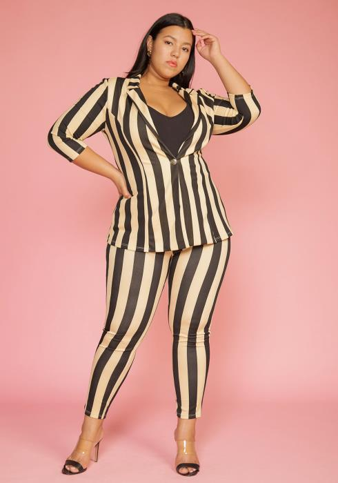 Asoph Plus Size Vertical Stripe Blazer & Pants Set