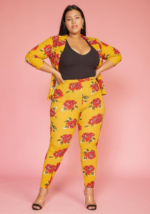 Asoph Plus Size Floral Blazer & Pants Set