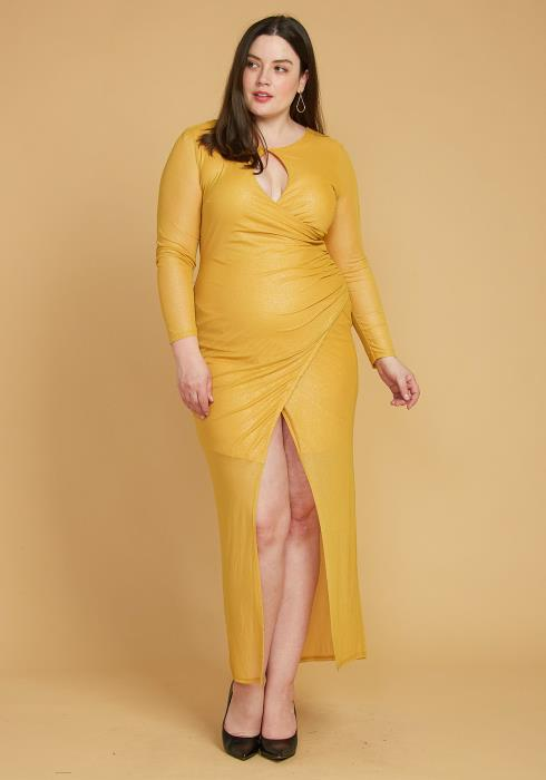 Asoph Plus Size Shiny Mesh Contrast Wrap Maxi Dress