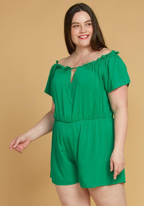 Asoph Plus Size Elastic Waist Off Shoulder Romper