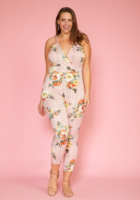 Asoph Plus Size Floral Plaid Cropped Cami Jumpsuit