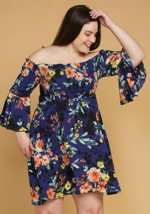 Plus Size Smocked Off Shoulder Floral Dress