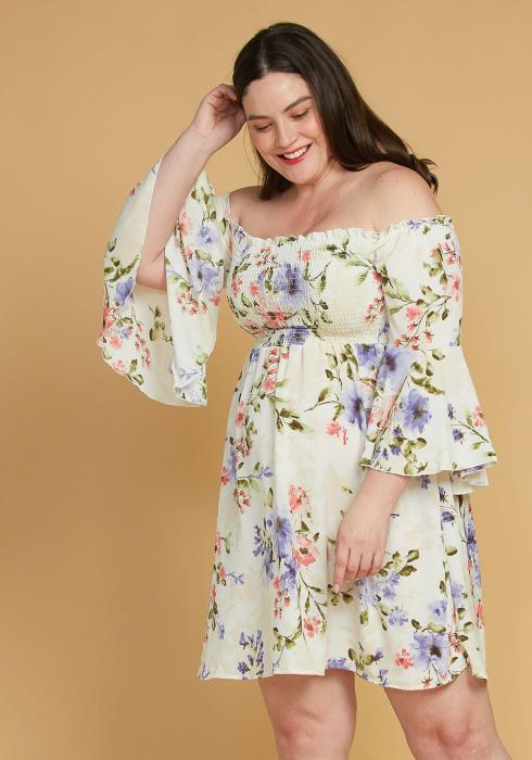 Asoph Plus Size Smocked Off Shoulder Floral Dress