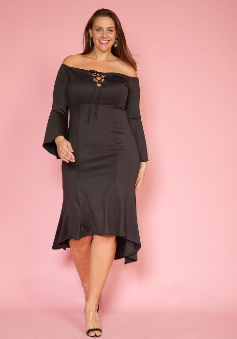 Asoph Plus Size Lace Up Front Bell Sleeve Flared Hem Midi Dress