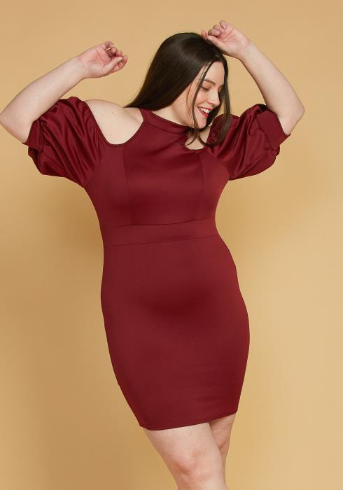 Plus Size Shoulder Cutout Puff Sleeve Dress