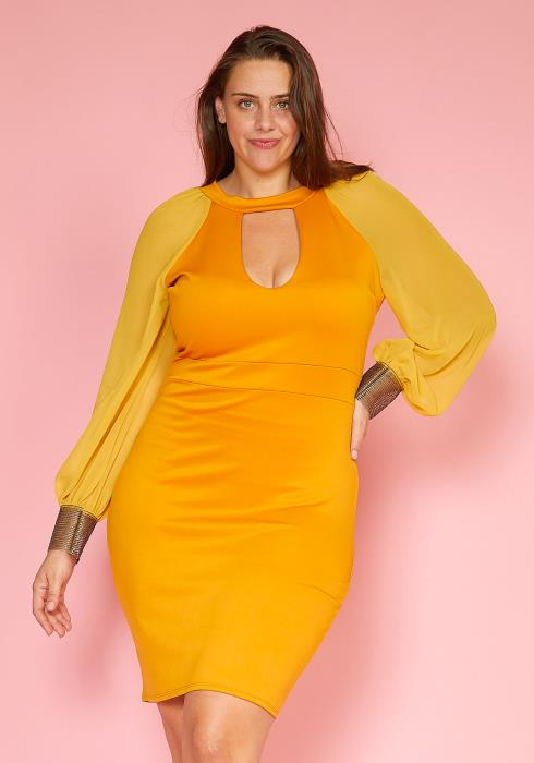 Asoph Plus Size Gold Cuffed Chiffon Sleeve Bodycon Dress