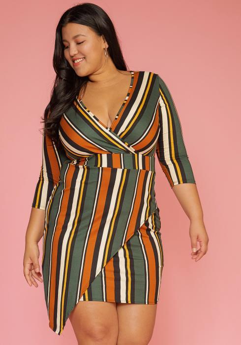 Asoph Plus Size Multi Stripe Wrap Dress