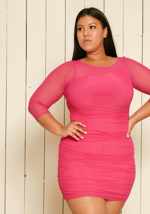 Asoph Plus Size Ruched Mesh Club Dress