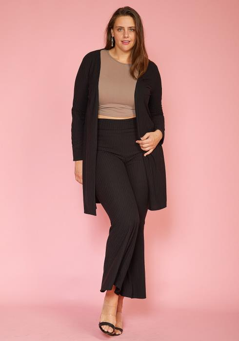 Asoph Plus Size Ribbed Cardigan Flared Pants Set