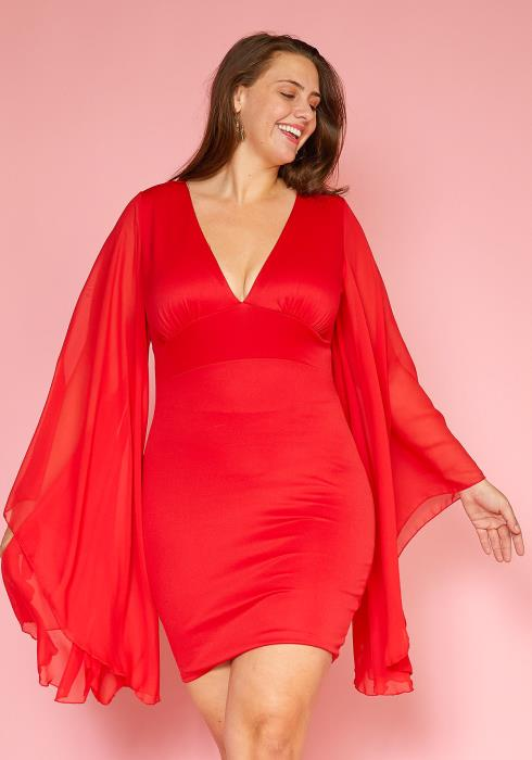 Asoph Plus Size Mesh Flowy Cape Sleeve Dress