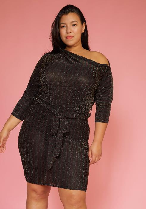 Asoph Plus Size Lurex One Shoulder Party Dress