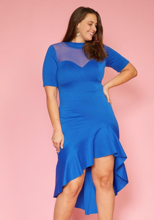 Asoph Plus Size Mesh Contrast Hi-Lo Party Dress