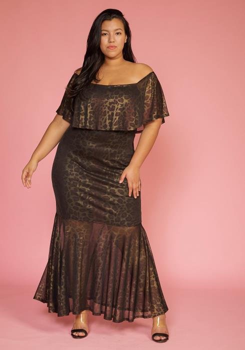 Asoph Plus Size Metallic Leopard Mermaid Maxi Dress
