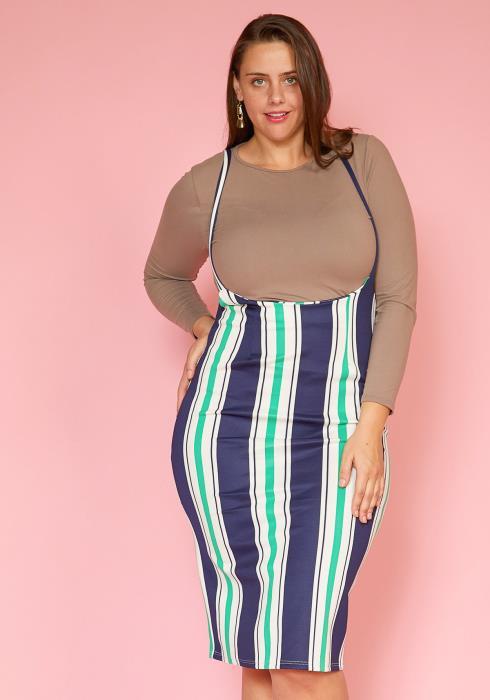 Asoph Plus Size Stripe Suspender Midi Skirt