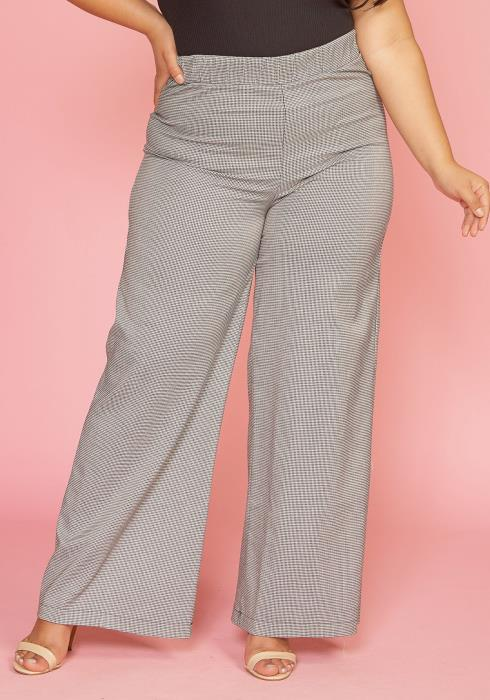Asoph Plus Size Mini Houndstooth High Waisted Pants