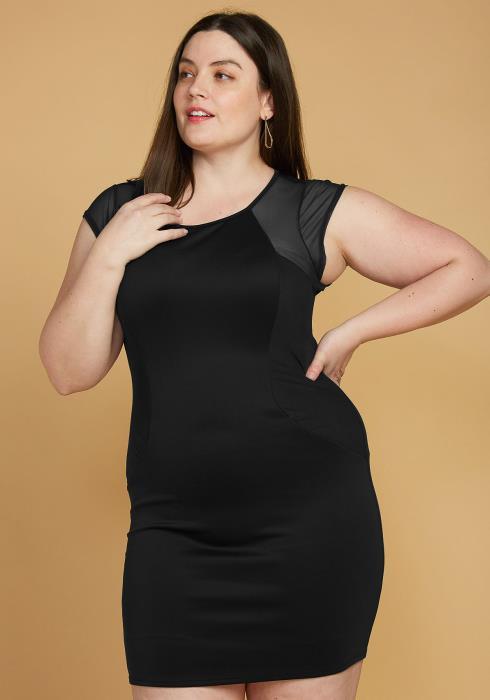 Plus Size Mesh Accented Mini Bodycon Dress