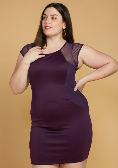 Asoph Plus Size Mesh Accented Mini Bodycon Dress