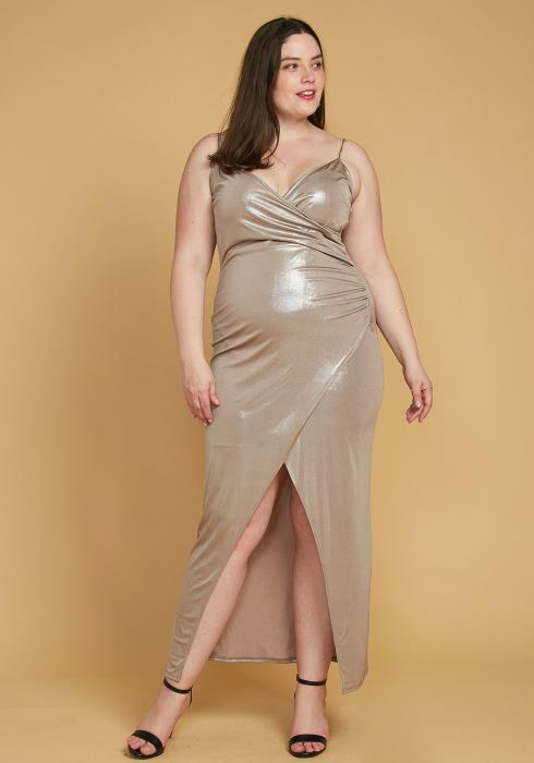 Plus Size Dazzling Wrap Maxi Evening Dress