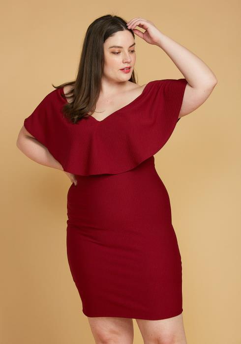 Asoph Plus Size Ribbed Off Shoulder Mini Party Dress