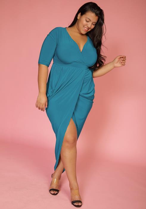 Asoph Plus Size Hi-Lo Wrap Party Dress