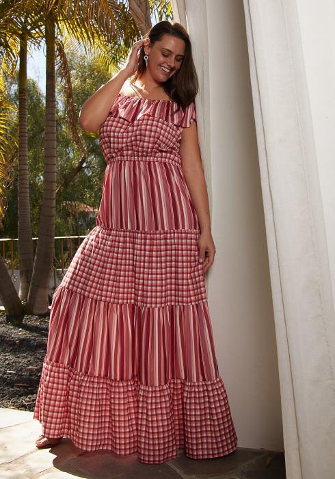 Asoph Plus Size Stripe And Plaid Maxi Dress