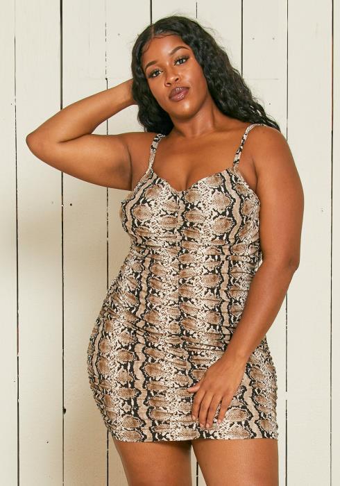 Asoph Plus Size Snake Print Bodycon Mini Dress