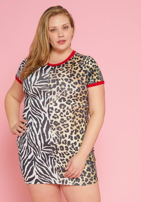 Asoph Plus Size Multi-Animal Print Dress