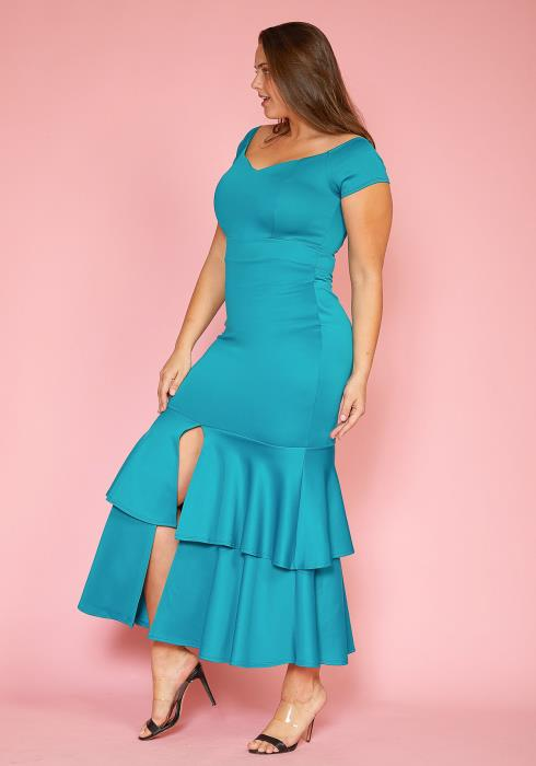 Asoph Plus Size Layered Ruffle Slit Hem Maxi Dress
