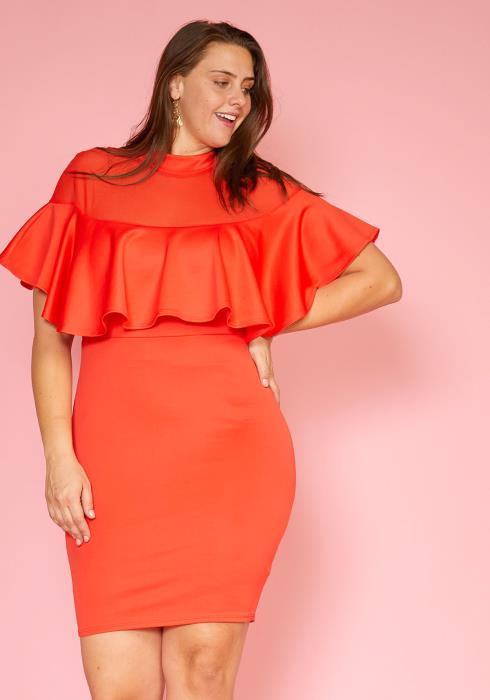 Asoph Plus Size Mesh Mock Neck Ruffle Mini Dress