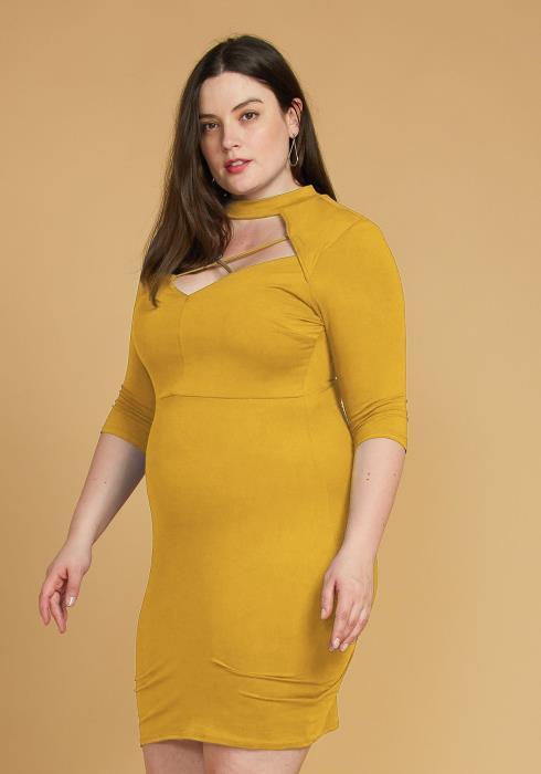 Plus Size Choker Neck Strappy Bodycon Dress