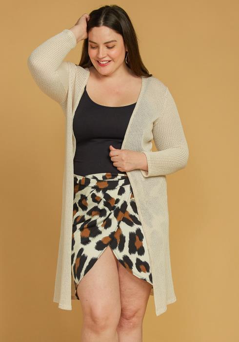 Asoph Plus Size Open Front Long Knit Cardigan