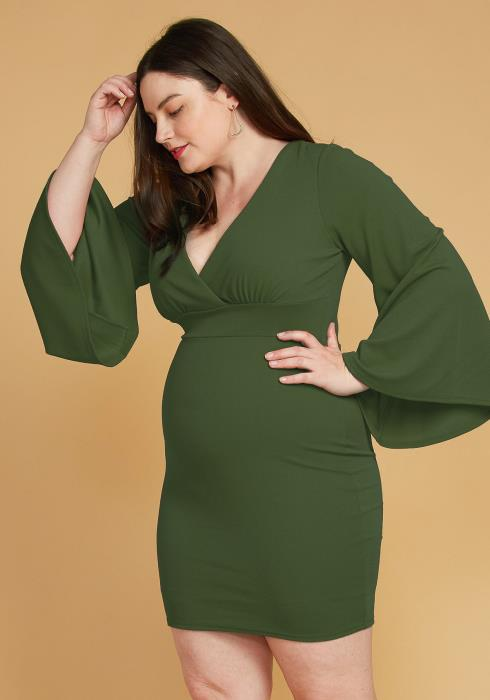 Asoph Plus Size V-Neck Flared Sleeve Dress