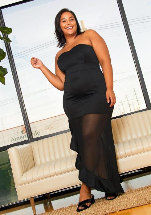 Asoph Plus Size Mesh Slit Hem Sweetheart Maxi Dress
