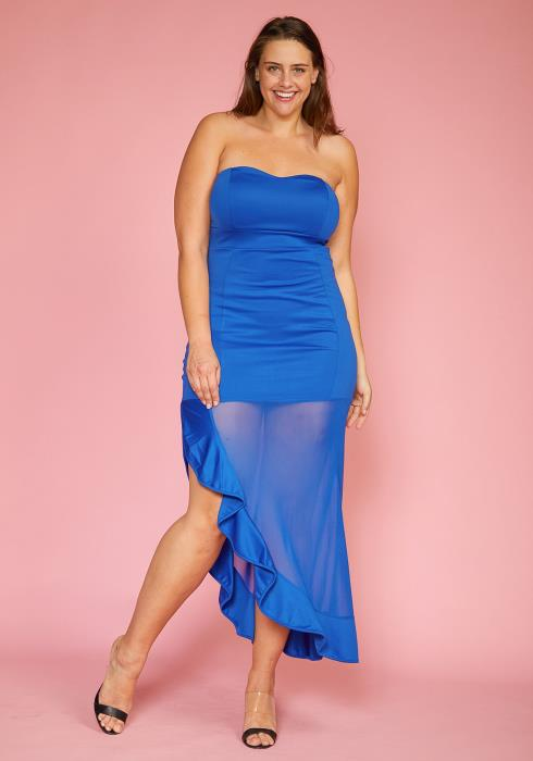 Asoph Plus Size Mesh Slit Hem Sweetheart Maxi Dress