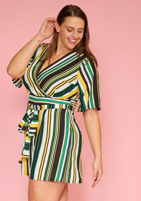Asoph Plus Size Multi Stripe Wrapped Romper