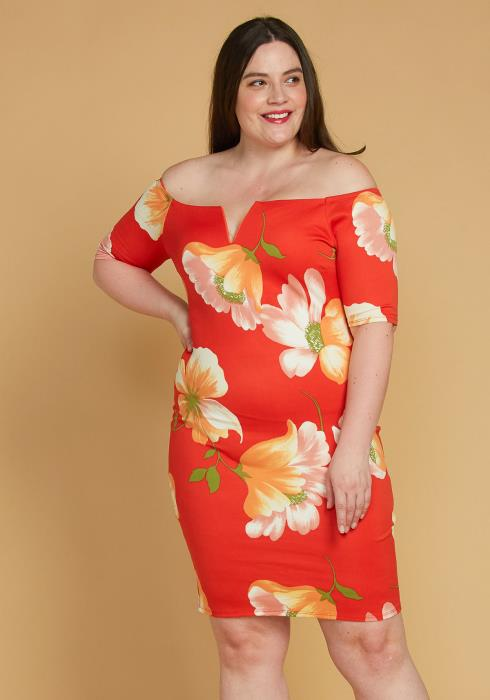 Asoph Plus Size Split Off Shoulder Floral Dress