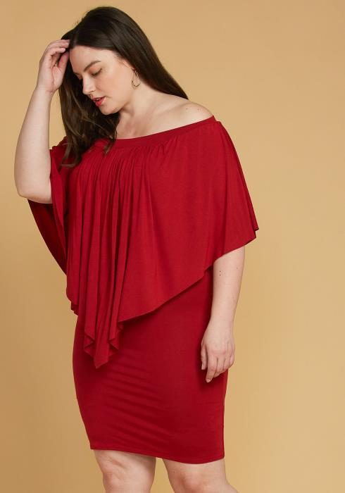 Asoph Plus Size Off Shoulder Cape Sleeve Dress
