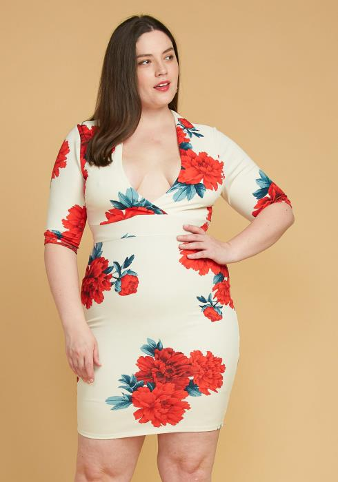 Asoph Plus Size Deep V-Neck Floral Bodycon Dress