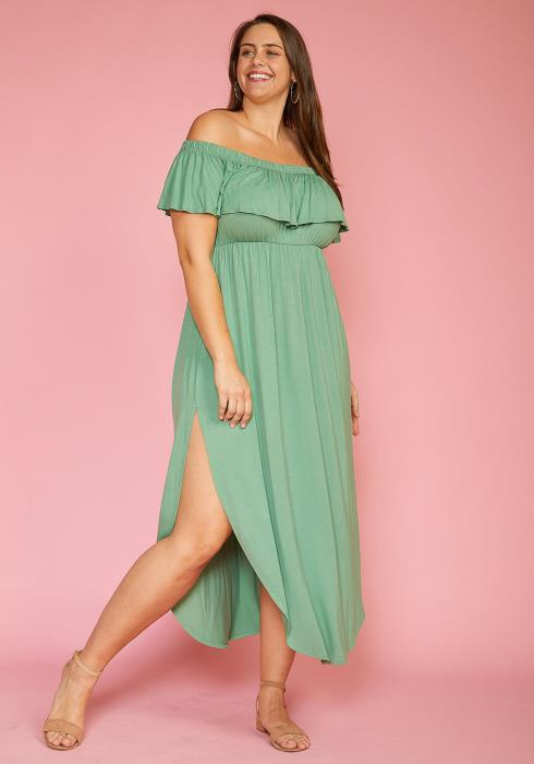 Asoph Plus Size Ruffle Off Shoulder Round Slit Hem Dress