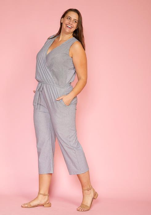 Asoph Plus Size Sleeveless Striped Jumpsuit
