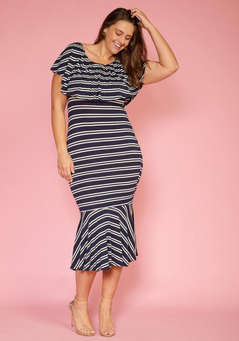 Asoph Plus Size Stripe Ruffle Mermaid Midi Dress