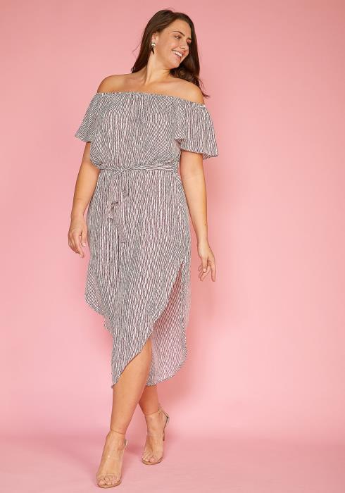 Asoph Plus Size Off Shoulder Stripe Tie Wasit Side Slit Dress