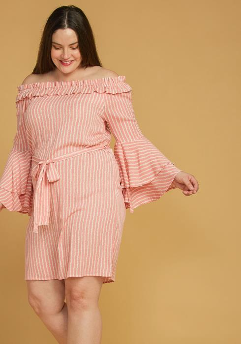 Asoph Plus Size Off Shoulder Tie Waist Stripe Dress