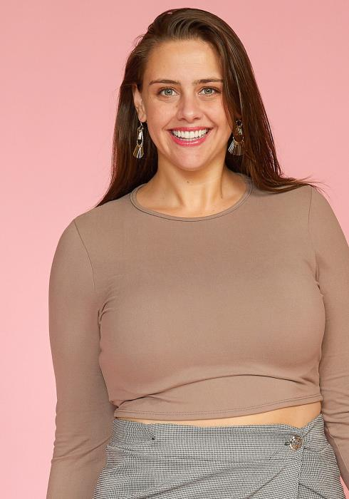 Asoph Plus Size Basic Crewneck Cropped Top