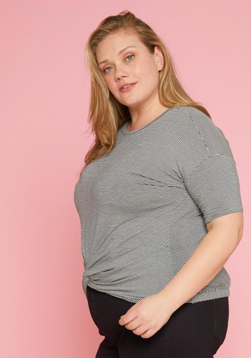 Asoph Plus Size Short Sleeve Stripe Top