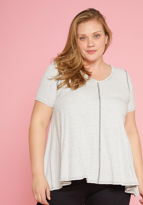 Asoph Plus Size Soft Stripe Top