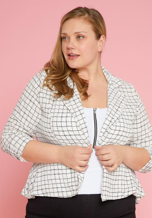 Asoph Plus Size One Button Grid Print Lightweight Blazer
