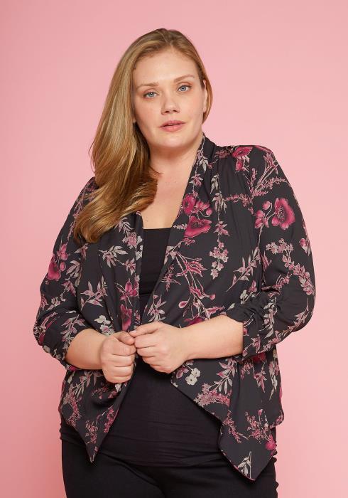 Asoph Plus Size Floral Print Open Cardigan
